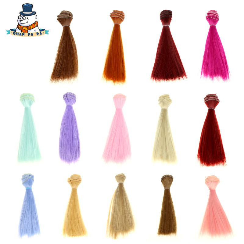 [QuanPaPa] 15cm*100cm 1pcs hair refires bjd hair black pink brown khaki white color long straight wig hair for 1/3 1/4 BJD diy