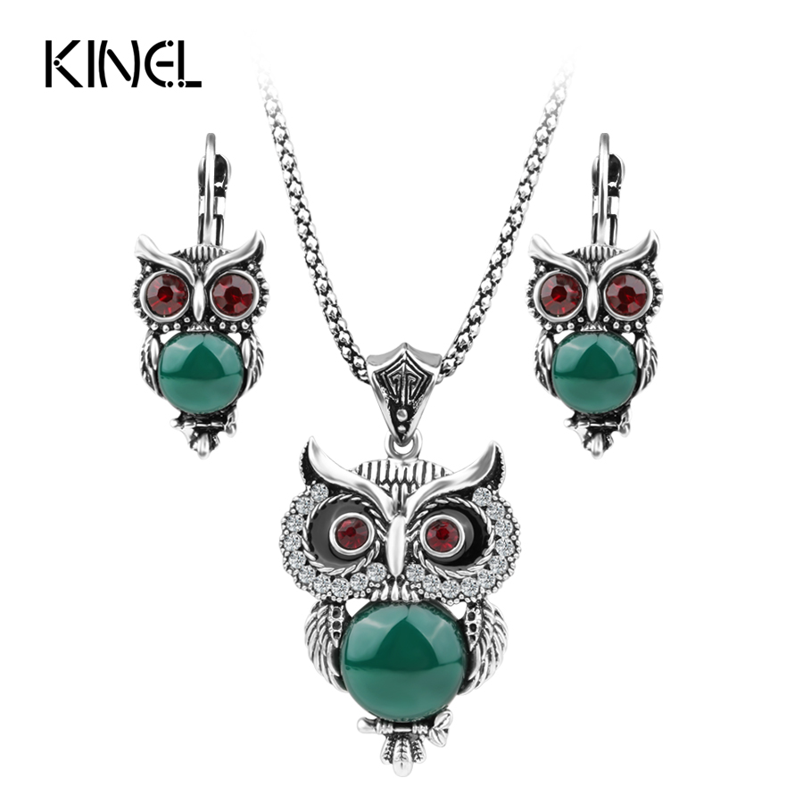 Kinel Vintage Jewelry Owl Necklace Earring Jewelry Sets Color Silver Mosaic Resin And Crystal Necklace For Women Gift