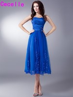 A Line Tea Length Royal Blue Vintage Bridesmaids Dresses Sweetheart Beaded Appliques Tulle Wedding Party Dress