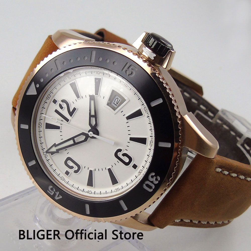 43MM BLIGER White Sterile Dial Luminous Marks Date Display Rose Golden Case Automatic Movement Men s