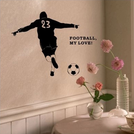 Football Vinyl Wall Sticker Brazil Soccer Player Sport Mural Art Wall Decal Boys Bedroom ...