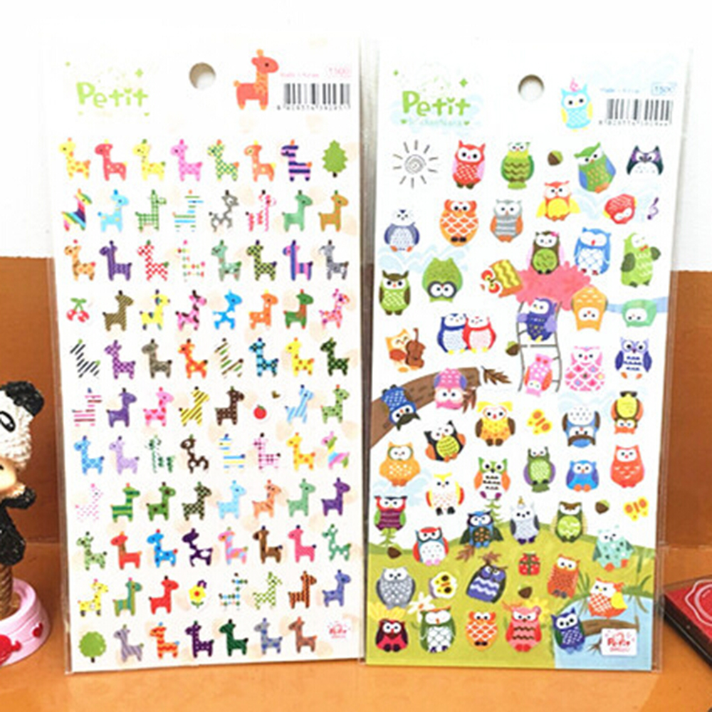 1 Sheet Children Cute Owl Giraffe Reward Stickers School Teacher Merit Praise Sticky Class Paper Lable Kids Stationery Gifts