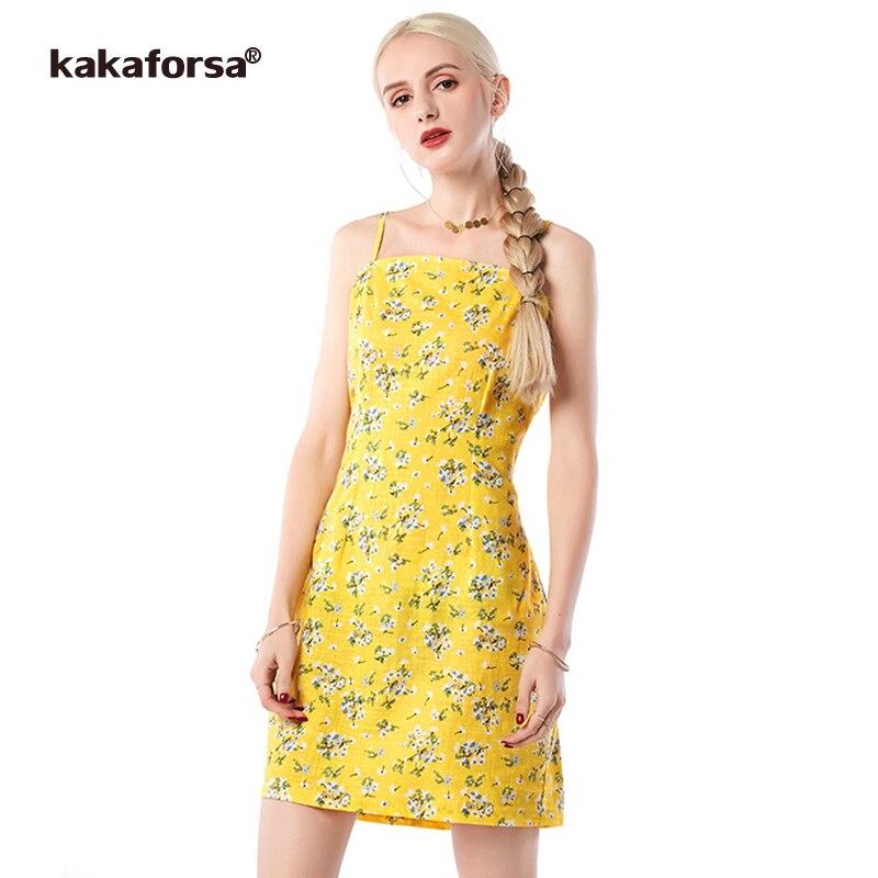 Kakaforsa Women Spaghetti Strap Print Party Dresses Sexy Backless Floral Mini Dress Female Casual Summer Sleeveless Short Dress