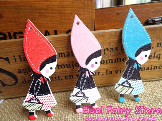 Redhood bonito Pingente Menina, Botão bonito da menina, Contas de moda menina, costura Scrapbook Decoração Dos Desenhos Animados Pingente De Madeira (100 pcs)