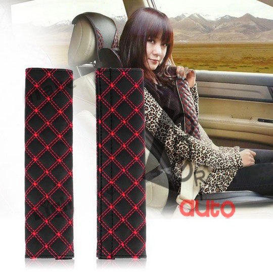 2013 Car Safety Seat Belt Strap Soft Shoulder Pad Cover Cushion Red Retail/Wholesale Free Shipping