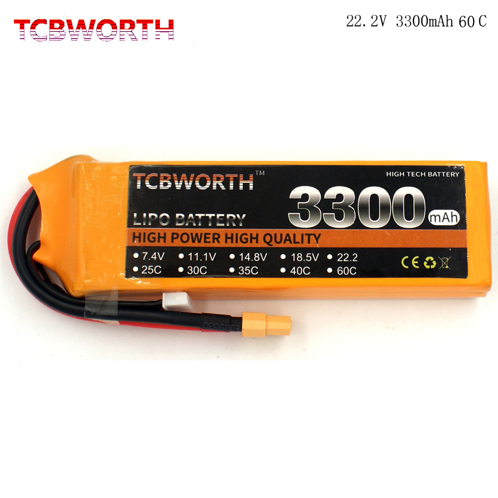 TCBWORTH 6S 22.2V 3300mAh 60C Max 120C RC Drone LiPo battery For RC Airplane Quadrotor Car boat Truck Li-ion battery tcbworth 11 1v 3300mah 60c 120c 3s rc lipo battery for rc airplane helicopter quadrotor drone car boat truck li ion battery