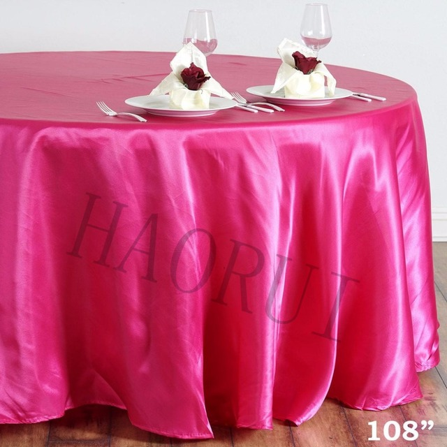 Free Shipping 10pcs Customized Fuchsia 108''Round Dining TableCloth Satin Table Cloths for Wedding Party Decoration Restaurant