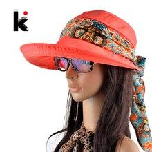 Летние шапки для женщин chapeu feminino Новая модная шляпа козырек Солнцезащитная шапка Складная шапка с шарфом защищающая от УФ-излучения 6 цветов