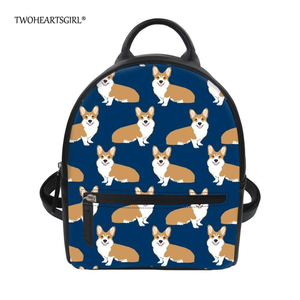 Twoheartsgirl Kawaii Corgi Dog Print Pu Leather Backpack for Women Small Female College Girls Travel Dagpack Unique Backbags