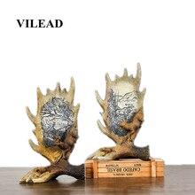 VILEAD 28cm Resin Elk Antler Figurines Creative Retro Animal Ornament Home Decoration Accessories Christmas Decorations for