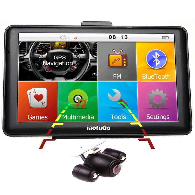 IaotuGo 7 zoll 256 Mt, 8G Kapazitive Auto GPS Navigator + LED Nachtsicht Rückfahrkamera, Bluetooth lkw GPS AVIN FM Spiel MP3 Video