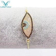 Fashion Gold color Women Crystal Bracelets Blue Evil Eye Charms Bracelets & Bangles With Adjustable Chain CZ stone Jewelry