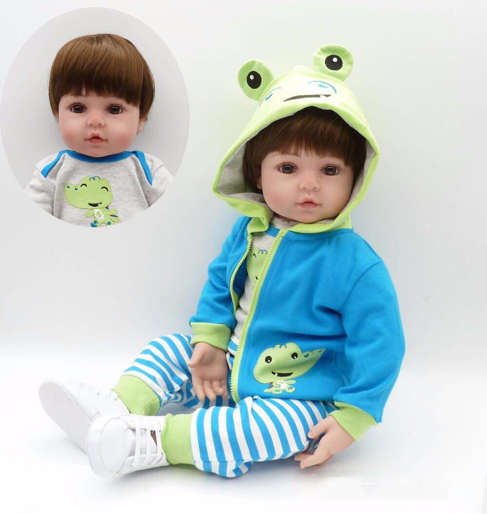 лучшая цена NPKCOLLECTION 19''Handmade Silicone vinyl adorable Lifelike toddler Baby Bonecas girl kid bebe doll reborn menina de silicone