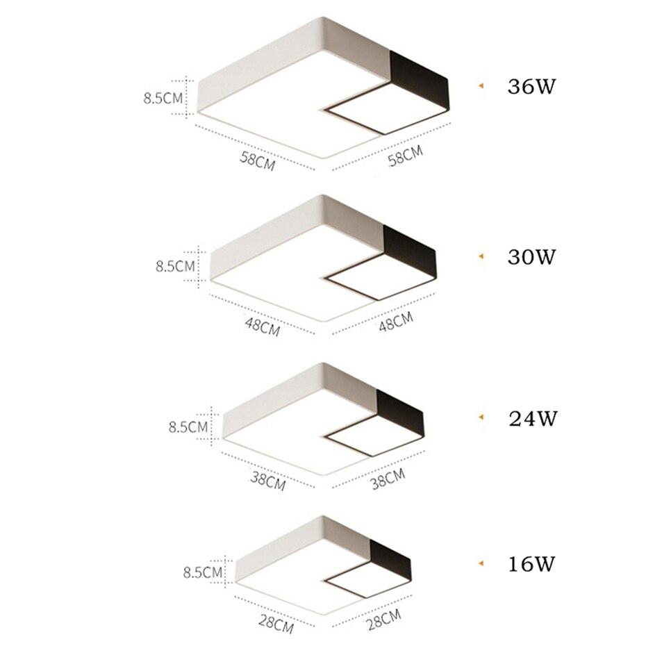 Simples Geométrica Praça LED Teto Lâmpada Da
