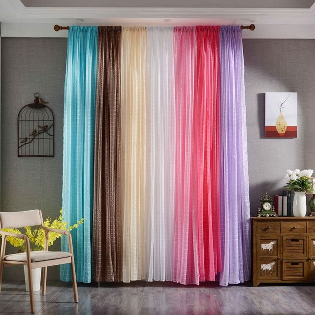Sheer Voile Tulle Curtains Solid Color Bedroom Living Room Window ...