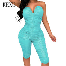 KEXU Strapless Small V-neck Summer Bodycon Bandage Jumpsuits Women Sleeveless Hollow Out Pleated Romper Bodysuit Casual Overalls