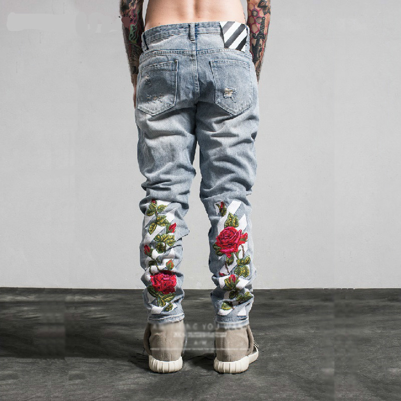 Embroidery Jeans Hole Metrosexual Straight Destroyed Jeans Brand Casual Slim Ripped Jeans Roses Print Men's Trousers Denim