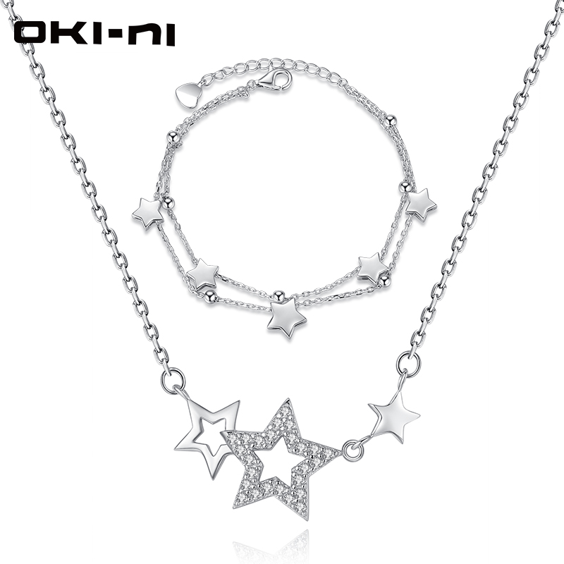 OKI NI High end Necklace & Bracelet Set Sterling 925 Silver Jewelry Sets & More Stars Pendant Christmas Gift For Women XLYJM 116