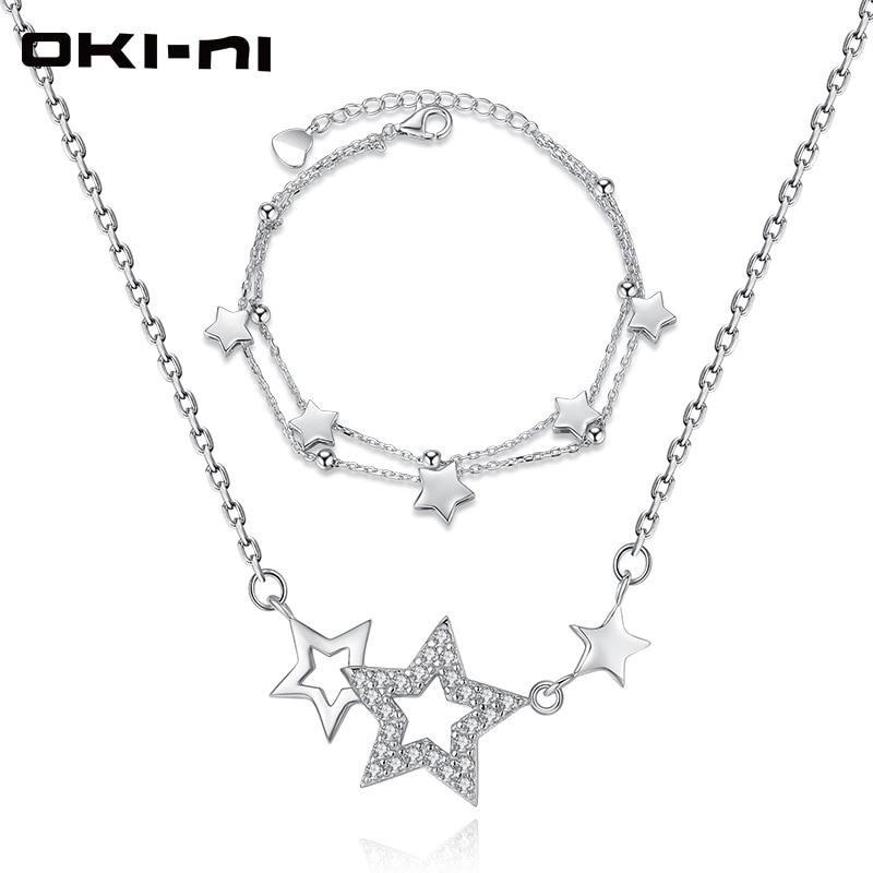 Oki-ni высокого класса Цепочки и ожерелья и браслет набор Стерлинг 925 Серебряные комплекты ювелирных изделий и больше звезд кулон Рождественс...