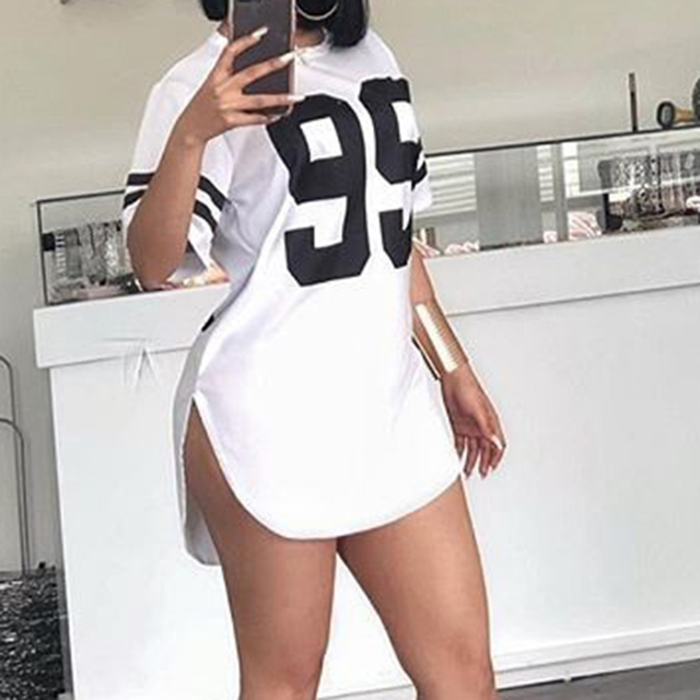 Street Style Number Printed Short Sleeved Mini Dresses Casual Plus Size Pullover Tshirt Dress Tops WS7225U 2