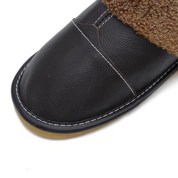 Plus Size 35-44 Genuine Leather Warm  Winter Home Slippers Non-Slip Thick Warm House Shoes Cotton Women Men Slippers 5 Colors 2