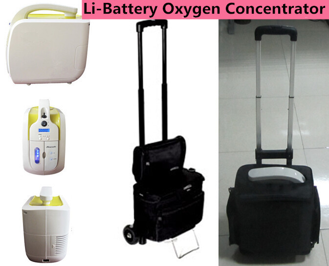 Mini Li-Battery Oxygen Concentrator 110V 220V DC12V Battery Oxygen Generator With Wheels and Bag Can be Used In The Car oom 104 oxygen battery applied to drager mustang hamilton newport chenwei