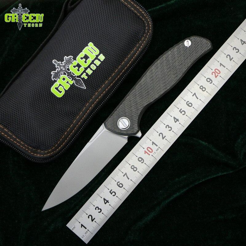 Vert épine hati 95 Flipper couteau pliant D2 lame portant titanium cf 3D POIGNÉE camping chasse extérieure fruits couteaux Edc outils