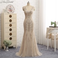Thời Trang thanh lịch Mermaid Evening Gowns Dài Backless Sequins Tulle Prom Đảng Dresses vestido festa longo