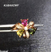 KJJEAXCMY Fine Jewelry Color Treasure 925 Silver Inlaid Tourmaline Ring Clover Female Simple Generous Wholesale