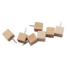 60 шт. квадратные деревянные декоративные штифты, деревянная головка и стальные иглы для фотографий, карт и пробковых досок