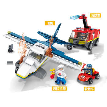 373pcs Children\'s building blocks toy Compatible Legoingly city Fire truck firefighting aircraft figures Bricks birthday gifts