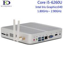 Kingdel Fanless Мини-ПК, Настольный Компьютер, 6-й Генерал Core i5-6260U, 4 К HTPC Intel Iris Graphics 540, HDMI + VGA + SD Card Порт, Micro PC