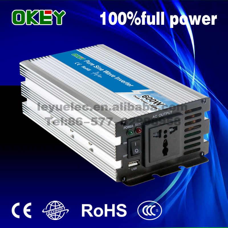 Inversor de corriente CE ISO de onda sinusoidal pura solar de 600 w para uso doméstico/automóvil 24 Vdc a 220vac