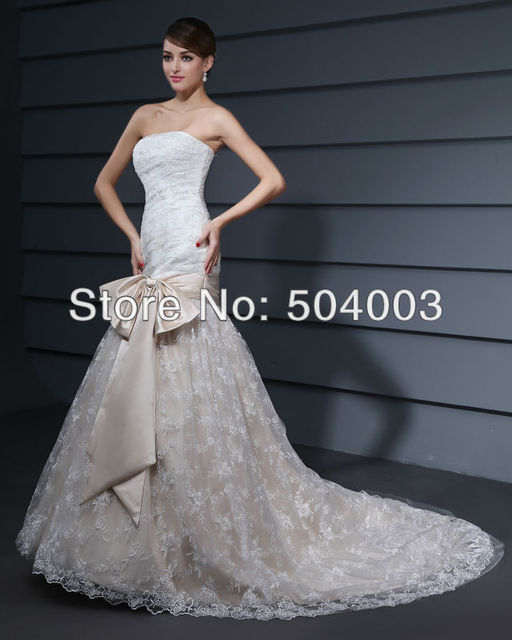 New Designer Lace Wedding Dress With Big Bow Ribbon Strapless Bridal Gown Free Shipping