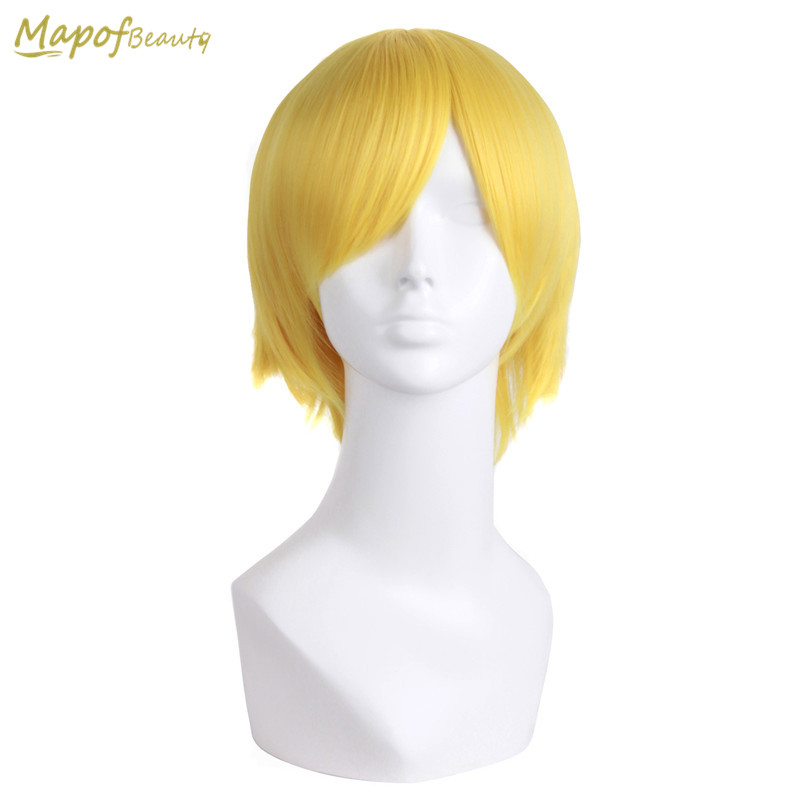 "MapofBeauty 12"" Short Curly Hair Synthetic Wigs 20 Colors Black yellow White Brown Blonde Multi-Color Cosplay wig Heat resistant(China)"