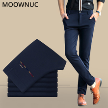 Business Casual Suit Pants Male Trousers Slim Fit Groomsman Longs Fashion Wedding Brand MOOWNUC