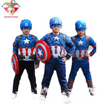 цена Captain America Costume Kids Super Hero Halloween Cosplay Purim Party Girl On Captain America Boys Captain America Movie Sui онлайн в 2017 году