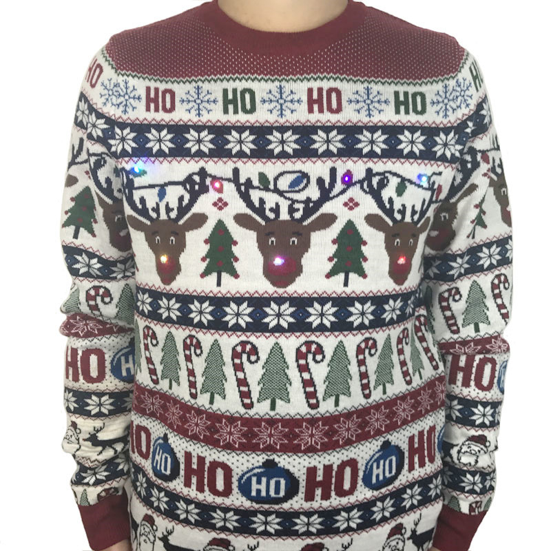 Funny Light Up Ugly Christmas Sweater for Men and Women Cute Reindeer Santa Patterned Xmas Pullover Jumper Plus Size S-2XL 1