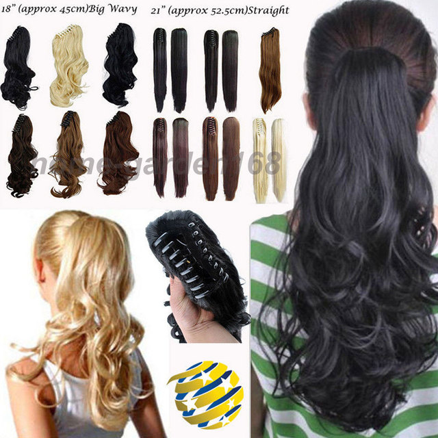 100 Real Thick Curly Wavy Claw Ponytail Hair Extensions Black Brown Blonde Wrap On