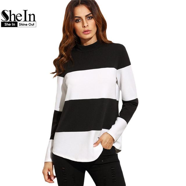SheIn Mulheres Encabeça Outono Pullover Camisola Das Senhoras Preto e Branco Contraste Listrado Largo Mock Neck Texturizado Camisola