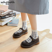 WHOHOLL Cosplay Lolita Round Head Japanese Maid Lolita Shoes Flat Platform Buckle Leather Shoes Women Uniform Shoes Size 35 40