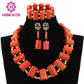 African Fashion Coral Beads Statement Necklace Set Gold Plated Dubai Bride Gift Jewelry Set Free Shipping CNR539