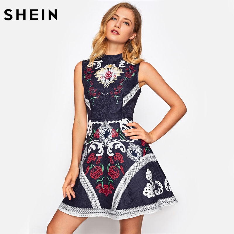 SHEIN Mixed Print Fit and Flare Jacquard Dress Multicolor Floral Print Band Collar Sleeveless Elegant Party Dress