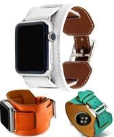 GOOSUU Manchette musique pour apple watch series1 2 sangle pour iwatch ceinture pour hermes montre haute qualité véritable epsom en cuir anneau en peluche