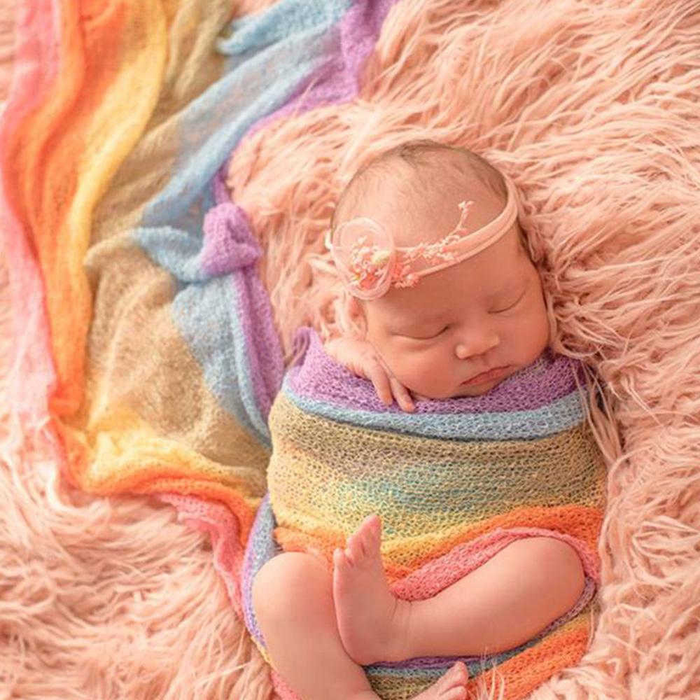 D&J Iridescence Stretchable Xmas Knitted Wraps Newborn Photography Props Rainbow Baby Blankets Handmade Infant Receiving Blanket