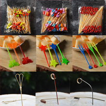 100pcs/200pcs 12cm/15cm Different Style Bamboo/PVC Food Picks fruit fork Sticks Buffet Cupcake Toppers Cocktail Bar Tools