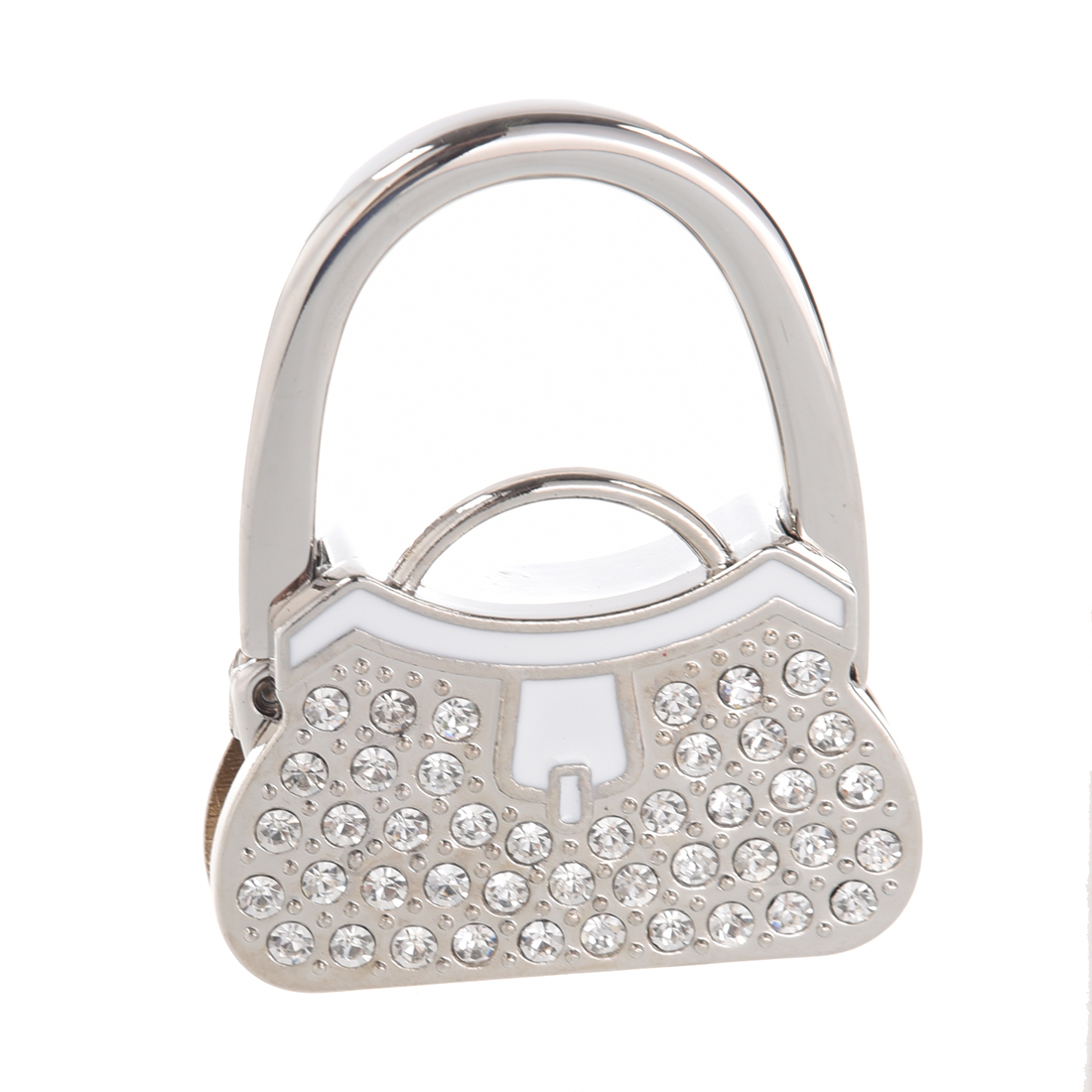 5pcs Boutique Metal Rhinestone Folding Handbag Purse Table Hook Hanger Holder lily flowers pattern metal foldable purse handbag hook table bag holder