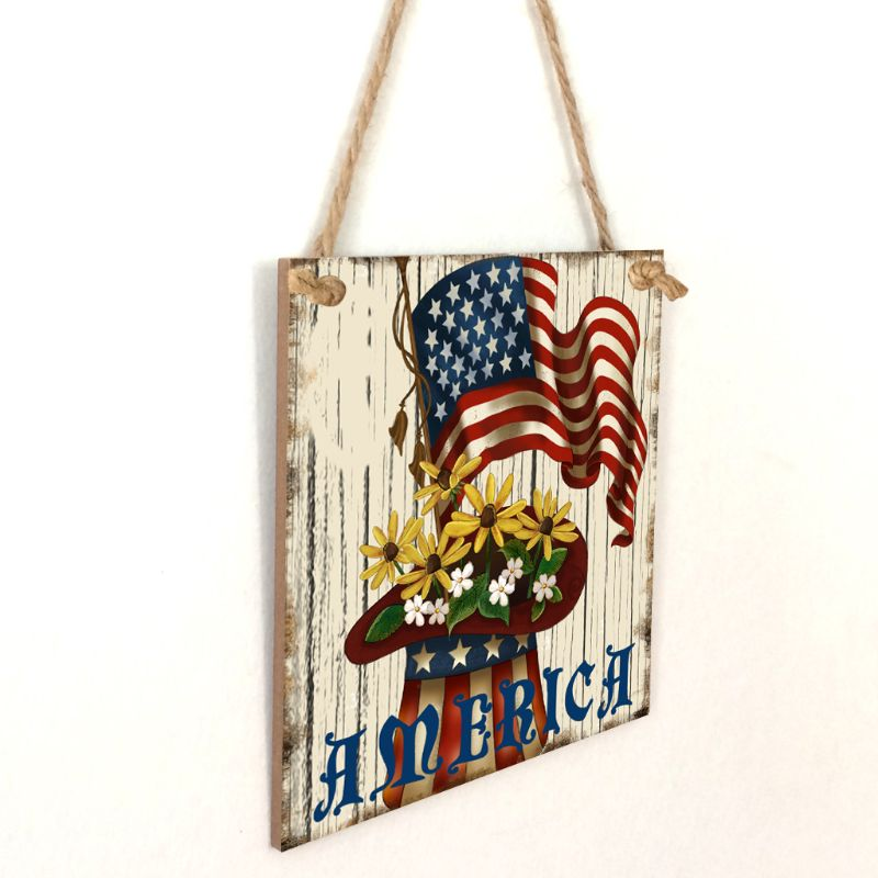Image 3 - Vintage Wooden Hanging Plaque America Sign Board Wall Door Home Decoration Independence Day Party Gift-in Plaques & Signs from Home & Garden