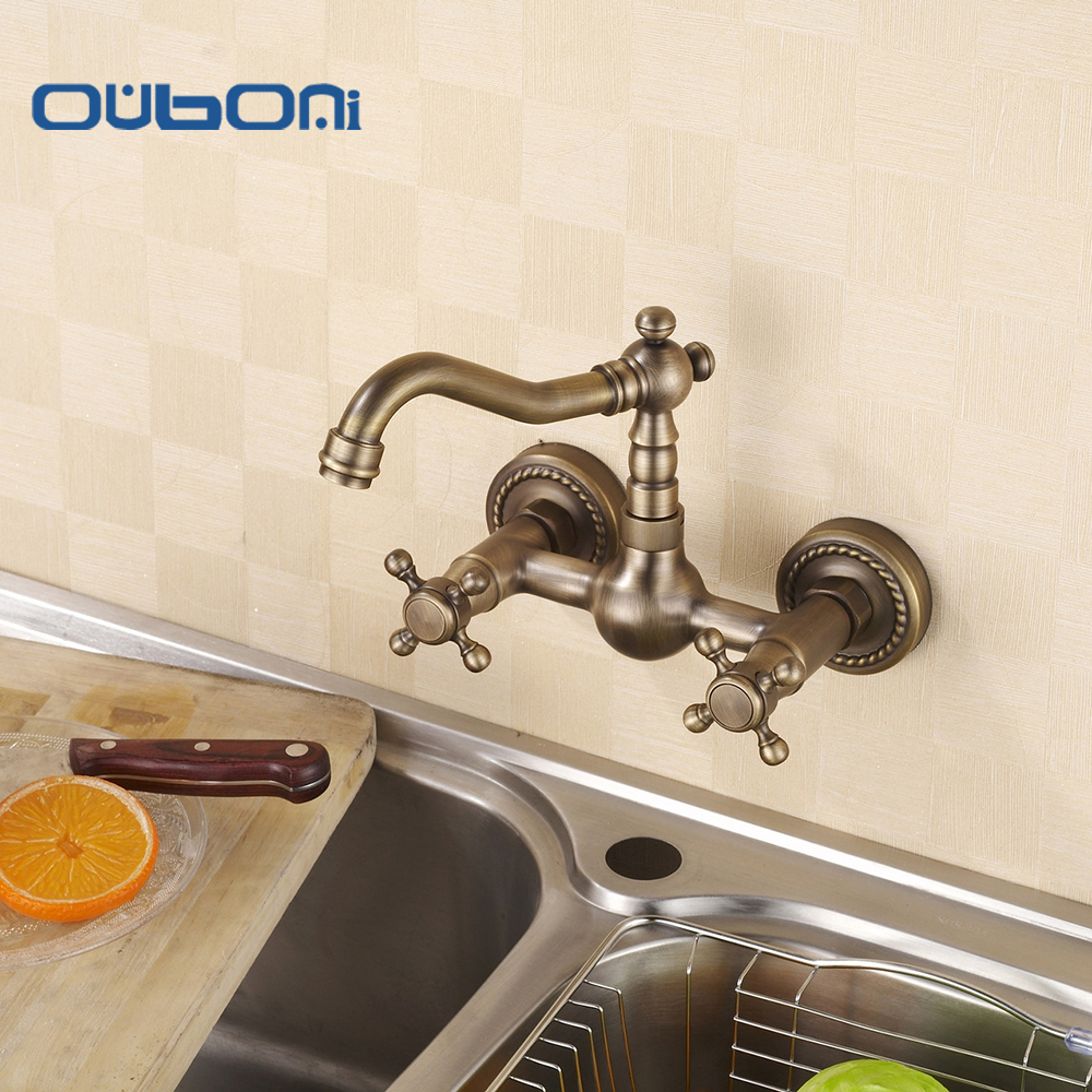 Kitchen& Bathroom Antique Brass Finish Mixer Faucet Taps Wall Mounted Faucets Basin Sink Faucet 360 Swivel Spout antique brass swivel spout dual cross handles kitchen