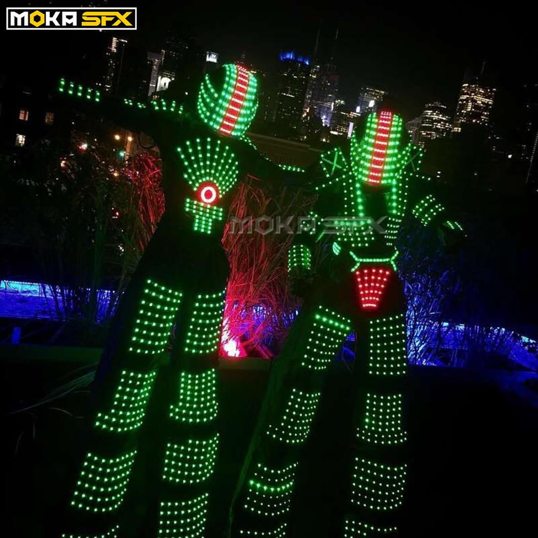 Colorful LED Light Robot Luminous Suit Costume Men LED Luminous Clothing Dance Wear For Night Clubs Party KTV Supplies